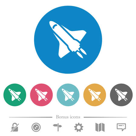 Space shuttle flat white icons on round color backgrounds. 6 bonus icons included.