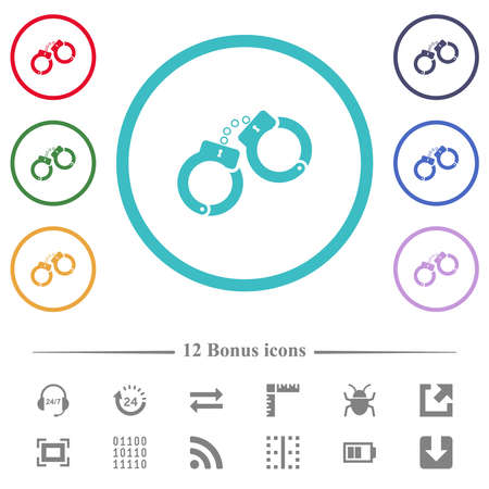 Handcuffs flat color icons in circle shape outlines. 12 bonus icons included.