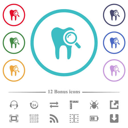 Dental examination flat color icons in circle shape outlines. 12 bonus icons included.