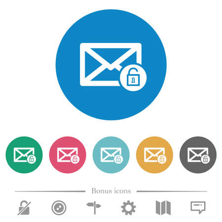 Unlock mail flat white icons on round color backgrounds. 6 bonus icons included.