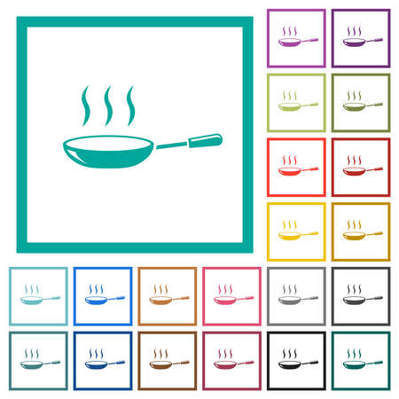Glossy steaming frying pan flat color icons in circle shape outlines. 12 bonus icons included.