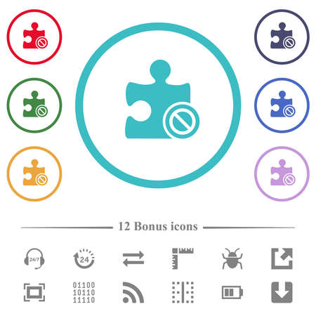 Plugin disabled flat color icons in circle shape outlines. 12 bonus icons included. Illustration