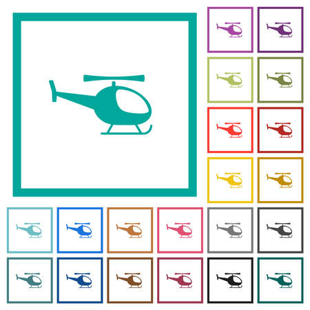 Helicopter flat color icons in circle shape outlines. 12 bonus icons included. Illustration