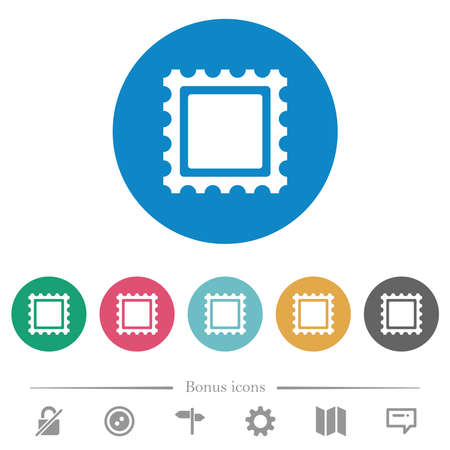 Postal stamp flat white icons on round color backgrounds. 6 bonus icons included.