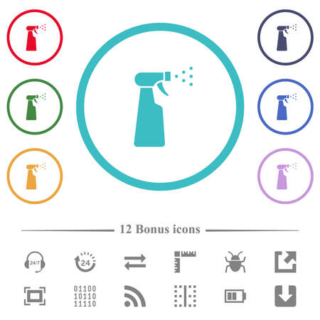 Spray bottle flat color icons in circle shape outlines. 12 bonus icons included.