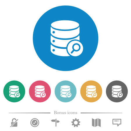 Database search flat white icons on round color backgrounds. 6 bonus icons included. Illustration