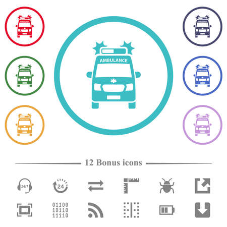 Flashing ambulance car front view flat color icons in circle shape outlines. 12 bonus icons included.