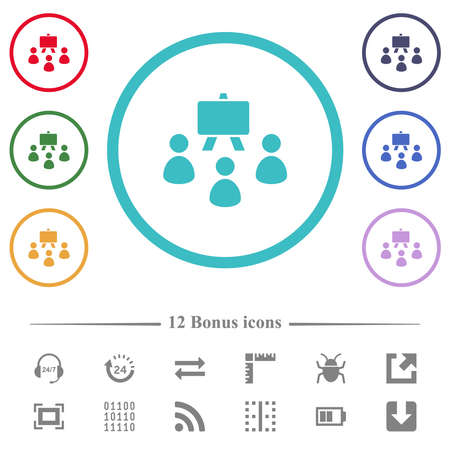Classroom flat color icons in circle shape outlines. 12 bonus icons included.