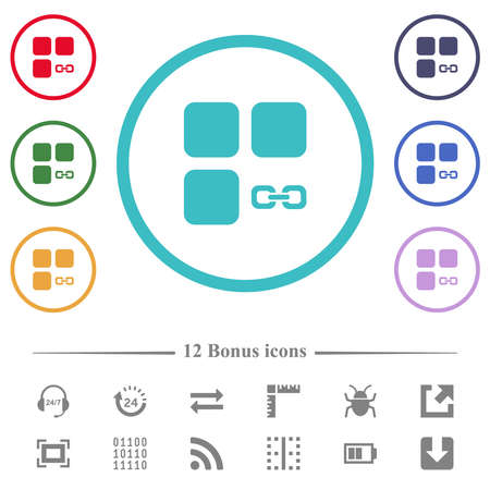 Link component flat color icons in circle shape outlines. 12 bonus icons included. Illustration