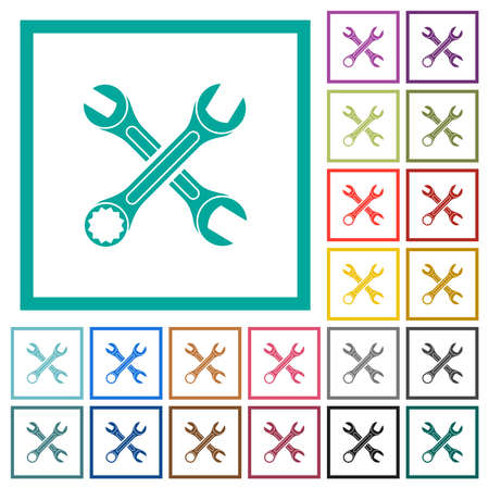 Two wrenches flat color icons in circle shape outlines. 12 bonus icons included.