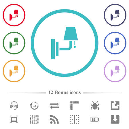 Wall lamp flat color icons in circle shape outlines. 12 bonus icons included.