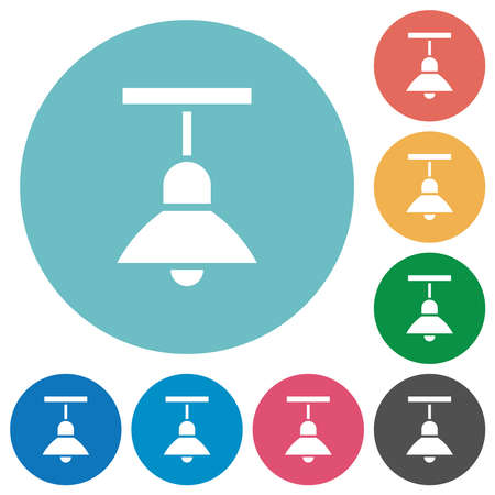 Chandelier flat white icons on round color backgrounds Illustration