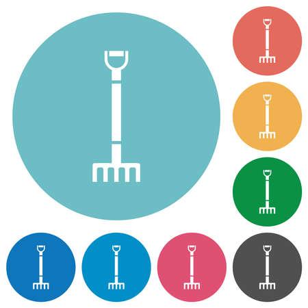 Single rake flat white icons on round color backgrounds Illustration