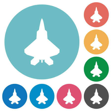 Jet fighter silhouette flat white icons on round color backgrounds
