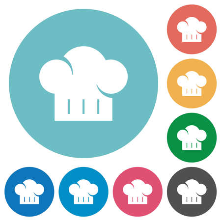 Chef hat flat white icons on round color backgrounds Illustration