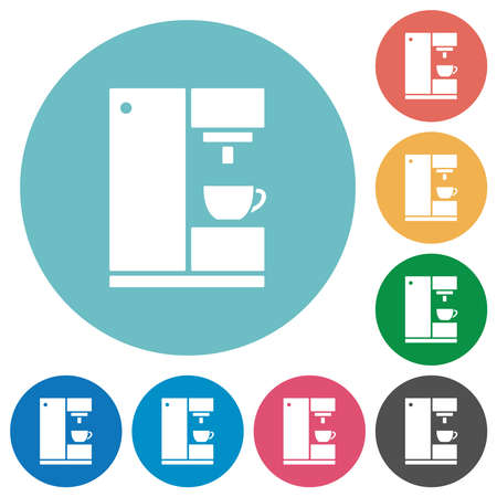 Coffee machine flat white icons on round color backgrounds Illustration