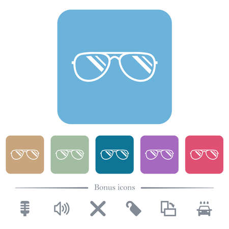 Glasses with glosses white flat icons on color rounded square backgrounds. 6 bonus icons included Illustration