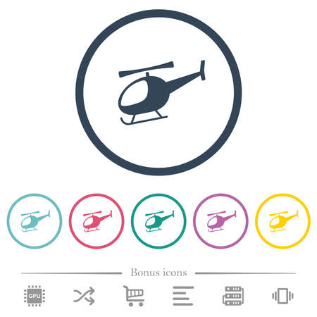 Helicopter flat color icons in round outlines. 6 bonus icons included.