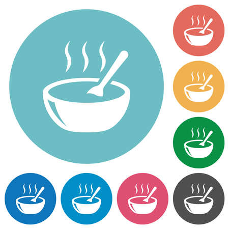Glossy steaming bowl of soup with spoon flat white icons on round color backgrounds