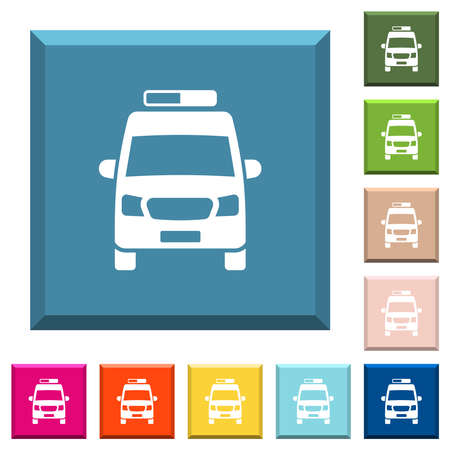 Ambulance car front view white icons on edged square buttons in various trendy colors