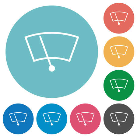 Windshield wiper flat white icons on round color backgrounds