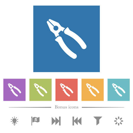 Combined pliers flat white icons in square backgrounds. 6 bonus icons included.