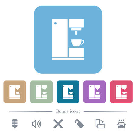 Coffee machine white flat icons on color rounded square backgrounds. 6 bonus icons included Illustration