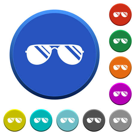 Aviator sunglasses with glosses round color beveled buttons with smooth surfaces and flat white icons