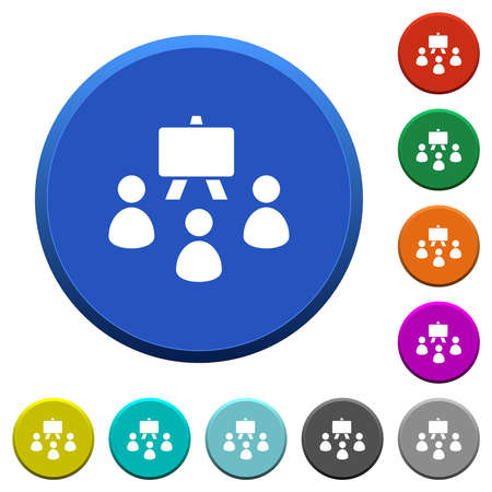 Classroom round color beveled buttons with smooth surfaces and flat white icons