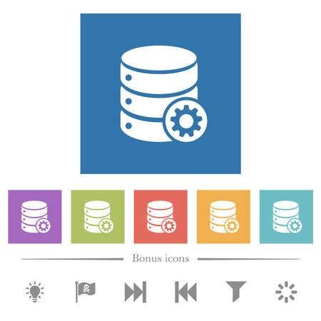 Database settings flat white icons in square backgrounds. 6 bonus icons included.