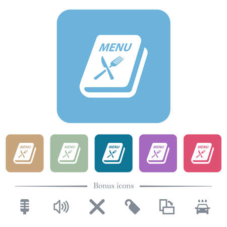 Menu with fork and knife white flat icons on color rounded square backgrounds. 6 bonus icons included