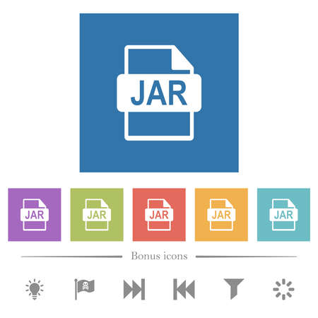 JAR file format flat white icons in square backgrounds. 6 bonus icons included.