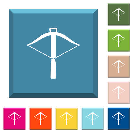 Crossbow white icons on edged square buttons in various trendy colors