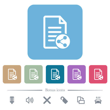 Share document white flat icons on color rounded square backgrounds. 6 bonus icons included Illustration