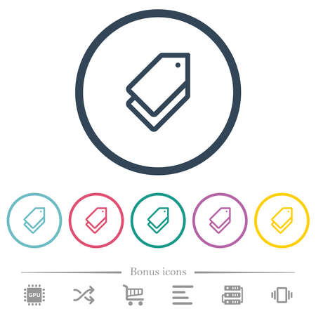 Multiple tags flat color icons in round outlines. 6 bonus icons included.