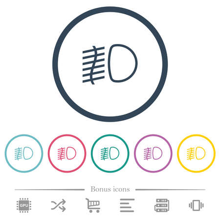 Fog lights flat color icons in round outlines. 6 bonus icons included. Illustration
