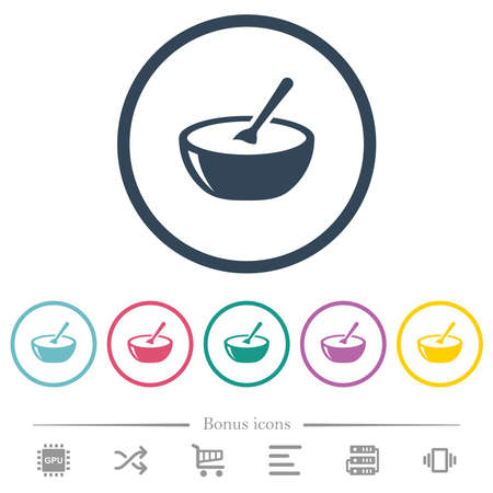 Glossy bowl of soup with spoon flat color icons in round outlines. 6 bonus icons included. Illustration