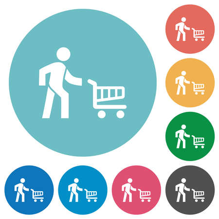 Shopping person with cart flat white icons on round color backgrounds Illustration