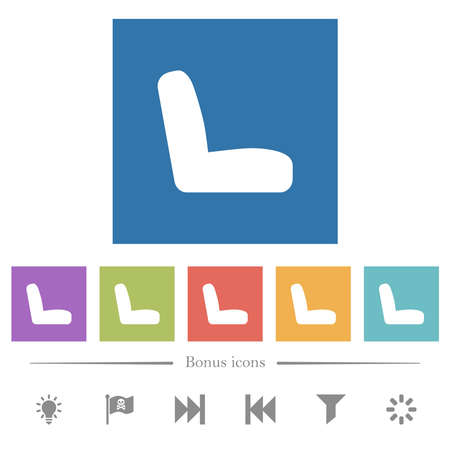 Car seat flat white icons in square backgrounds. 6 bonus icons included.