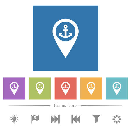 Sea port GPS map location flat white icons in square backgrounds. 6 bonus icons included.