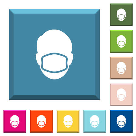 Face with medical mask white icons on edged square buttons in various trendy colors