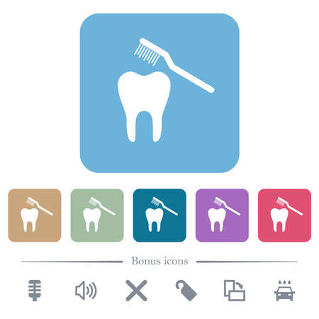 Toothbrushing white flat icons on color rounded square backgrounds. 6 bonus icons included