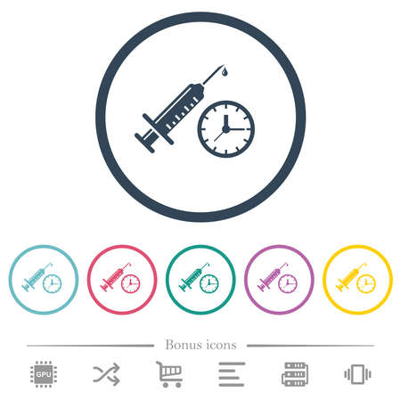 Vaccination appointment flat color icons in round outlines. 6 bonus icons included. Illustration