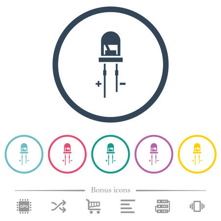 Light Emitting Diode flat color icons in round outlines. 6 bonus icons included. Illustration