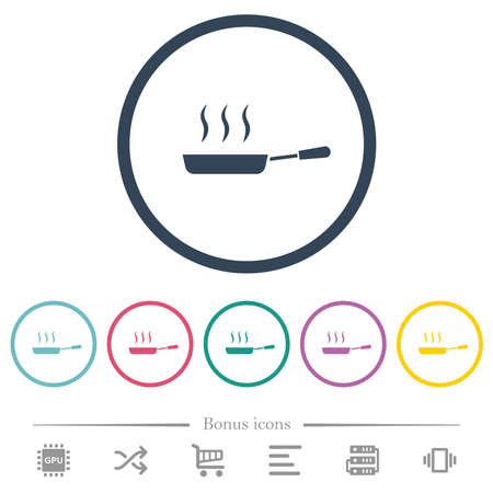 Steaming frying pan side view flat color icons in round outlines. 6 bonus icons included.