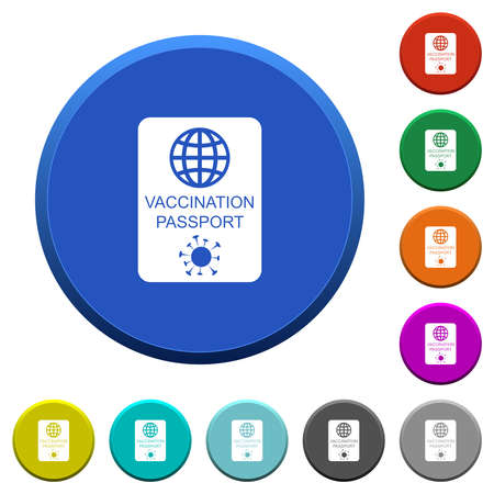 Vaccination passport round color beveled buttons with smooth surfaces and flat white icons