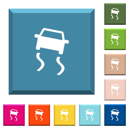 Slippery road dashboard indicator white icons on various trendy colors