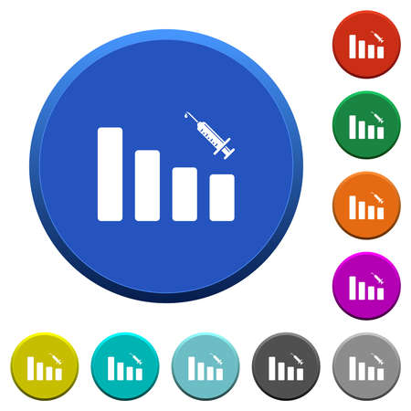 Vaccination graph round color beveled buttons with smooth surfaces and flat white icons