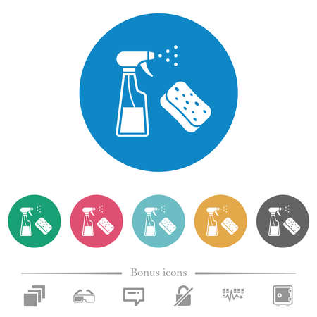 Spray bottle and sponge flat white icons on round color backgrounds. 6 bonus icons included.