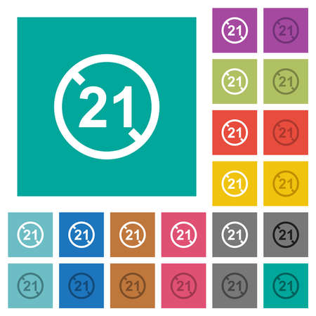 Not allowed under 21 multi colored flat icons on plain square backgrounds. Included white and darker icon variations for hover or active effects. Vektorgrafik